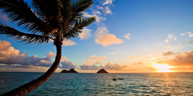 Image of a Lanikai beach at sunrise.